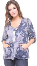 LADIES REGULAR SIZE ITALIAN QUIRKY LAGENLOOK FLORAL PRINT LAYERING LINEN JACKET
