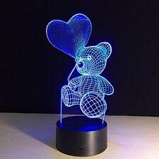 3D Illusion Bulbing Teddy Bear Heart Lamp Acrylic LED Night Light USB Table Desk