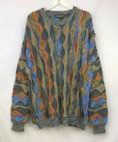 Vintage 90s Mens Tundra 3D Multi-Color Hip-Hop Sweater ~ Size Large