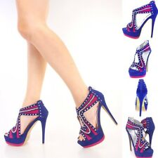 Rhinestone Studded Peep Toe Stripper shoes Stiletto High Heels Platform Pump H91