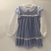 Vintage 70s  Girl Prairie Dress Gunne Sax Style Gingham Lace Boho 6