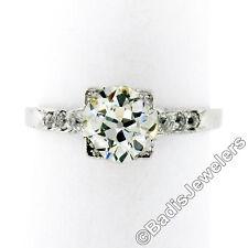 Antique Art Deco Platinum 1.18ctw GIA Euro Cut Diamond Solitaire Engagement Ring
