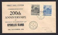 Seychelles 1956 40c & 1R 2v on FDC