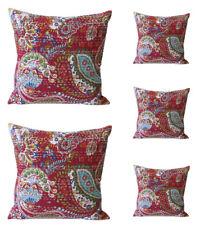 "Fabric Indian Kantha Cushion Cover 16"" Boho Cotton Decorative Throw Pillow Case"