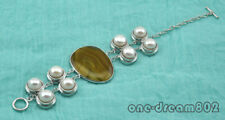 """8""""  40mm baroque agate 11mm round pearl bracelet"""
