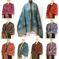 Jacquard Paisley Double Layer Pashmina Shawl Scarf Red Pink Blue Purple Brown