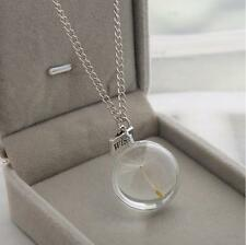 New Silver Dandelion Fairy Seed Make a Wish Glass Orb Pendant Chain Necklace