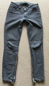 Superfine Grey Skinny Jesns With Side Zips Size 27