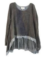 Belle France Asymmetrical Knit Top Womens Size S Gray Sequins Ruffle Hem