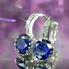 18k white gold gf made with blue SWAROVSKI crystal earrings stud huggies classic