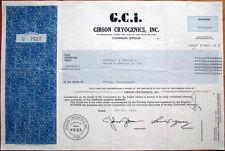 1983 Stock Certificate: GCI / 'Gibson Cryogenics, Inc.' - Utah UT