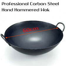 Professional Carbon Steel Double Hand Hammered Wok 60cm Stiry Fry Wok Pan Dish