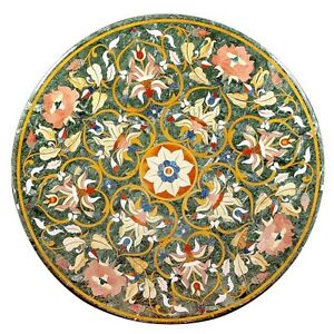 """24"""" Green Marble Coffee Table Top Stone Mosaic Pietra Dure Inlay Garden Decors"""