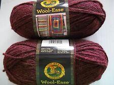 Lion Brand Wool-Ease wool blend yarn, Chestnut heather, lot of 2 (197 yds each)