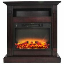 34 In. Electric Fireplace with Enhanced Log Display and Mantel