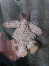 Folk Art Primitive Vintage Cat Cloth Doll Kitten Handmade Signed Toy Stuffed EUC