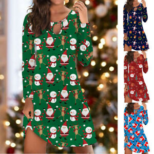 UK Womens Tunic Xmas Christmas Long Sleeve Loose Loose Santa Ladies Mini Dress