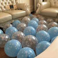 12X Silver/Blue Frozen Snowflake Printed Latex Balloons Kids Birthday Party TK