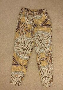 ZARA yellow orange cotton fabric trousers with elastic band size S