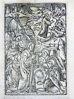 1541 REGNAULT BIBLE - Rubricated woodcut leaf - Parable of the Sower