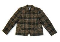 Sag Harbor Women's Jacket Blazer Zipper Close Brown & Black Tweed Size 14 Petite