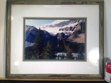 Framed Matted Enlarged Photograph Picture Mountain Scene Solid Wood Frame