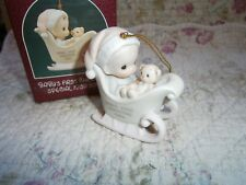 Precious Moments Ornament Babys 1st First Christmas 1989 Boy/Sled/Bear
