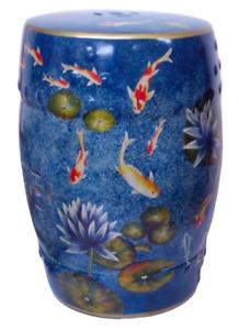 Oriental Chinese Blue Koi Carp Fish Waterlilies Porcelain Stool Mandarin Style