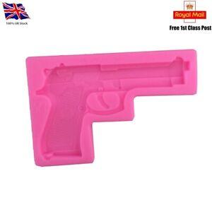 Gun Pistol Silicone Fondant Sugar craft Cake topper Resin mould 1st Class Post!