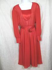 Vintage Ursala of Switzerland Sheer Dress Size 9/10 Red