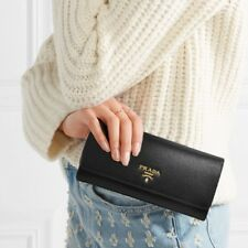 New Wallet! Prada NWT Original $700 Protafoglio Pattina Wallet in Black
