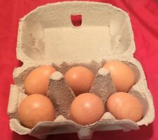 Erzi Pretend Play Wooden Grocery Shop Merchandise 6 Brown Eggs Made In Germany