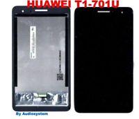 "DISPLAY LCD+TOUCH SCREEN per HUAWEI MEDIAPAD T1 701U 7"" TABLET VETRO NERO NUOVO"