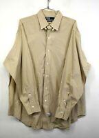 Polo By Ralph Lauren Mens Tan Button-Down Long Sleeve Checked Cotton Shirt 17/34