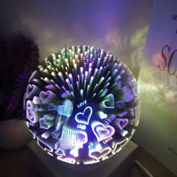 Magic 3D LED Glass Night Light Ball Shaped USB Lamp Kid's Gift Home Desk Decor