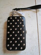 NEW WITH TAGS BLACK SILVER STUDDED WALLET CELL PHONE HOLDER FOR iPHONE 5