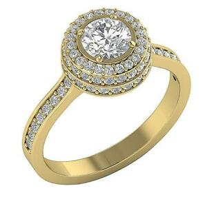 Solitaire Engagement Ring Natural Diamond 14K Yellow Gold I1 G 1.60 Ct 11.00 MM