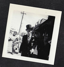 Vintage Antique Photograph Man Walking Down Street Wearing Tophat & Cane