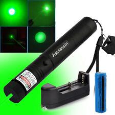Assassin 200Miles Green Laser Pointer Pen 532nm Adjustable 18650Battery +Charger