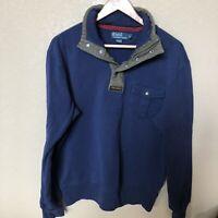 Men's Vintage 90s Polo Ralph Lauren Navy Blue Snap T Fleece Pullover Jacket Sz L