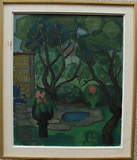 Oscar jonsson 1895-1982, jardín escena para 1940/50