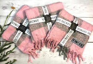 Victoria's Secret Winter Angel Buffalo Check Scarf Light Pink/Grey bundle of 3
