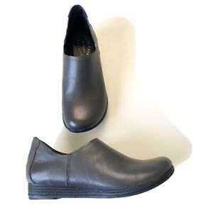 Kork-Ease Leather Gray Clog Slip On Shoes Size 8 39 Low Wedge MINT