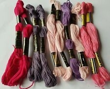 Pink Purple Cotton Embroidery Threads Skeins X 10 Each One is 8 Metres Long P2