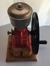 Vintage Spanish Cast Iron 1930s Red ELMA Coffee Grinder Black Single Wheel