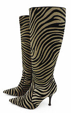 L.K. Bennett Stiefel 38 Tigermuster Leder Ponyfell high heels boots bottes top