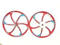 "CDHPOWER 26"" Mag Wheel Set/26"" Magnesium Alloy Wheels & 36T 6 Holes Sprocket/Red"