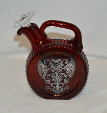 New listing Very Nice Ruby Red Decanter With Sterling Overlay - Small 12 Oz's