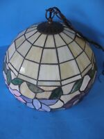 VINTAGE CHICAGO MOSAIC STAINED LEADED GLASS CEILING 3 LAMP SHADE