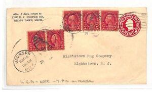 AX47 1930 USA Grass Lake Michigan Postal Stationery Cover PTS